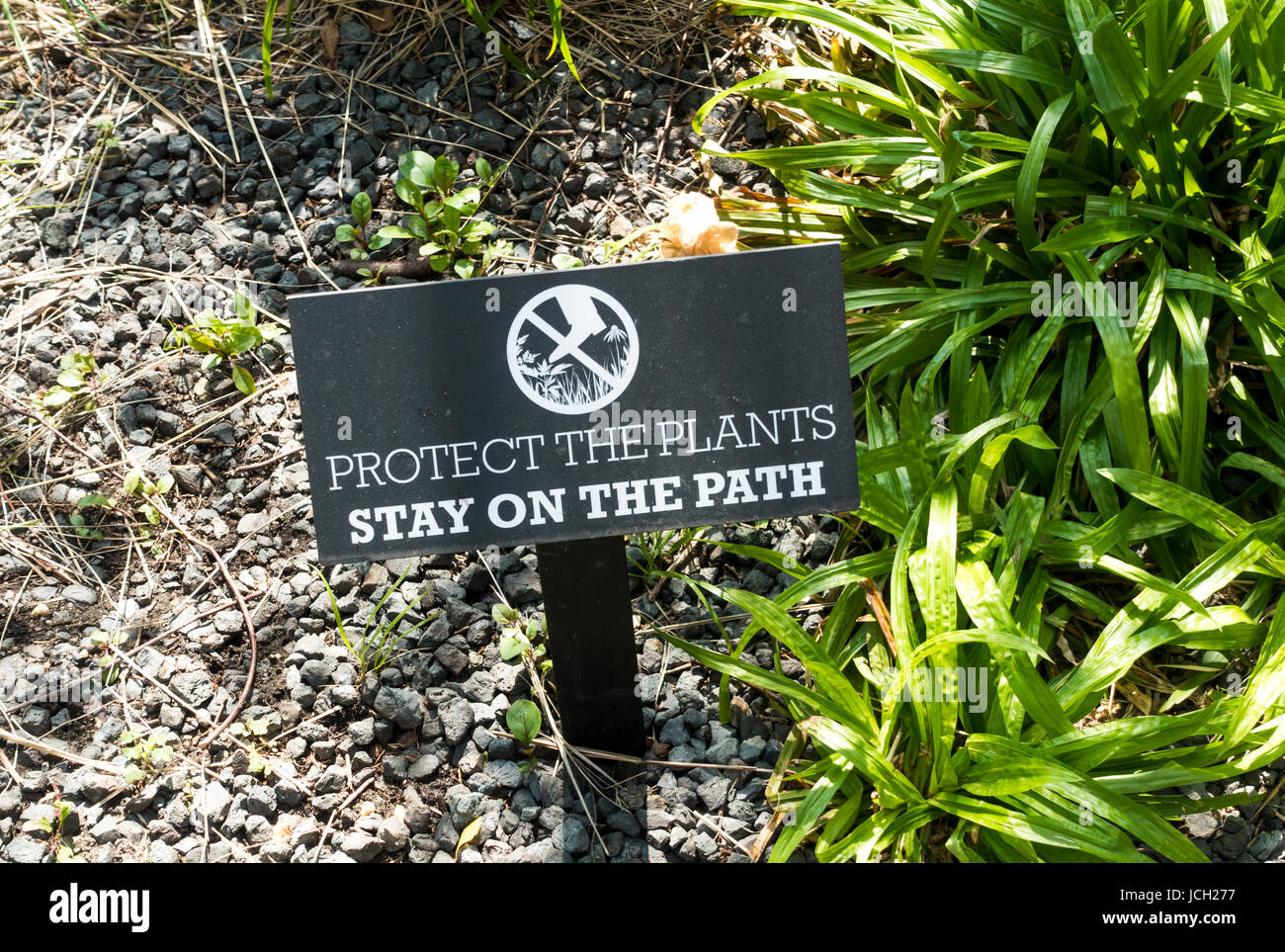 A sign with a printed warning and request to protect the plants and stay on the path in the High Line Park in New - Stock Image