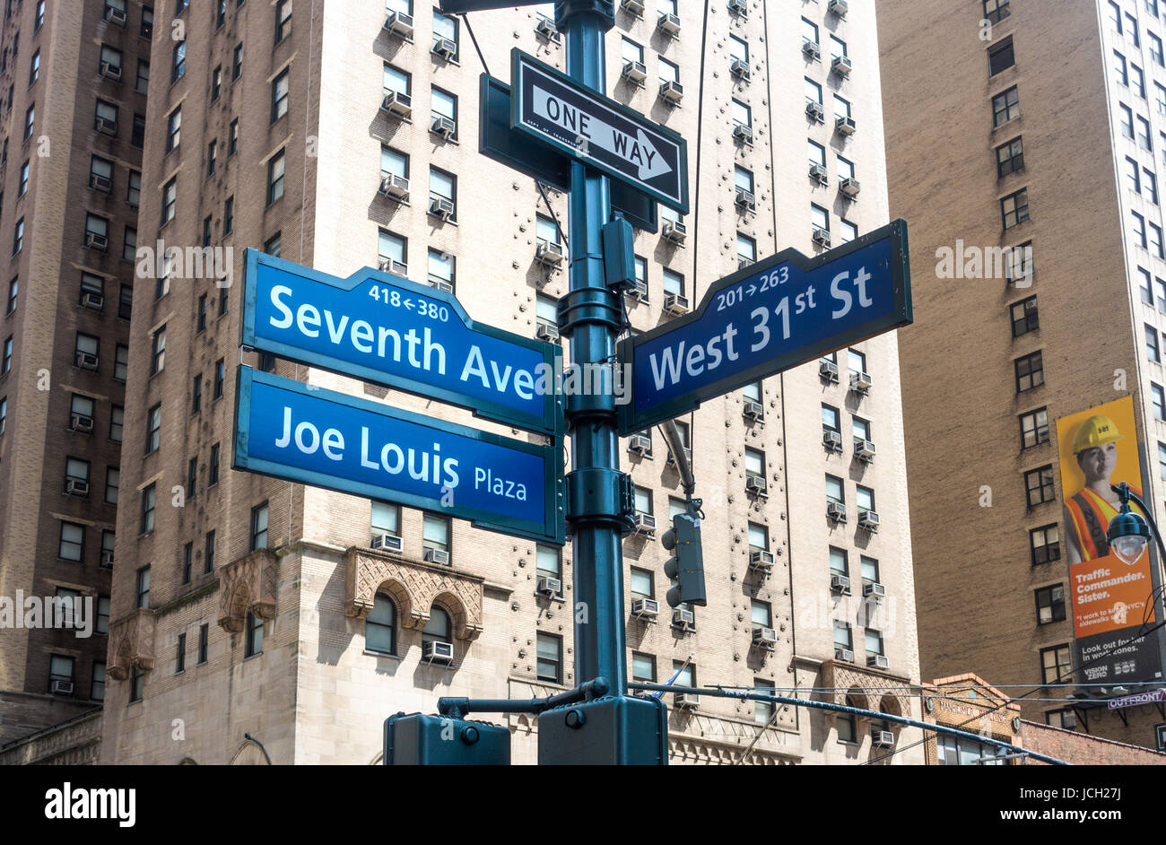 Joe Lewis Plaza is a small area of New York City that honors the great heavyweight champion - Stock Image