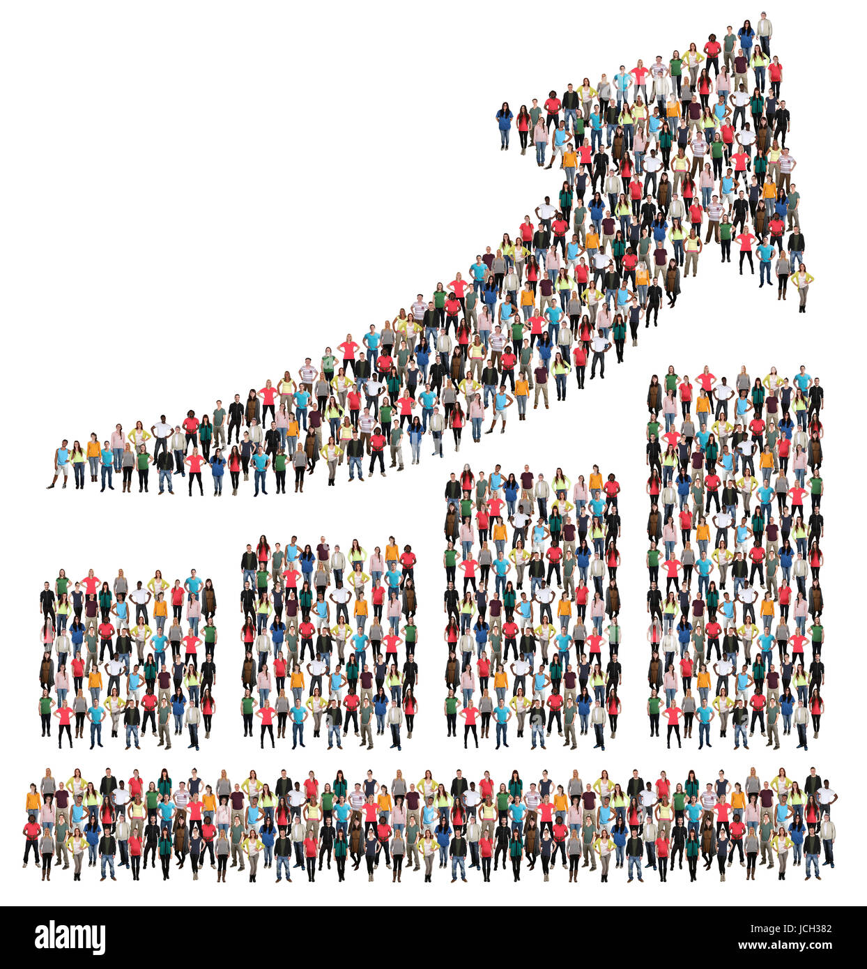 Bar chart arrow sales group of people success business profit growth marketing growing - Stock Image