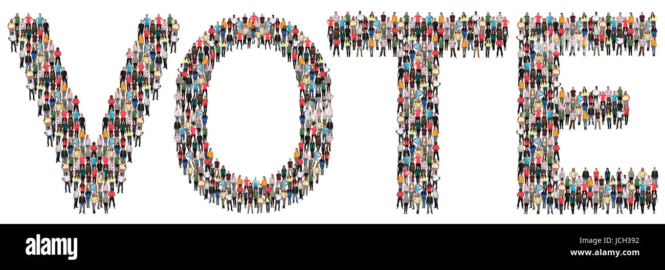 Vote election politics multi ethnic group of people isolated - Stock Image