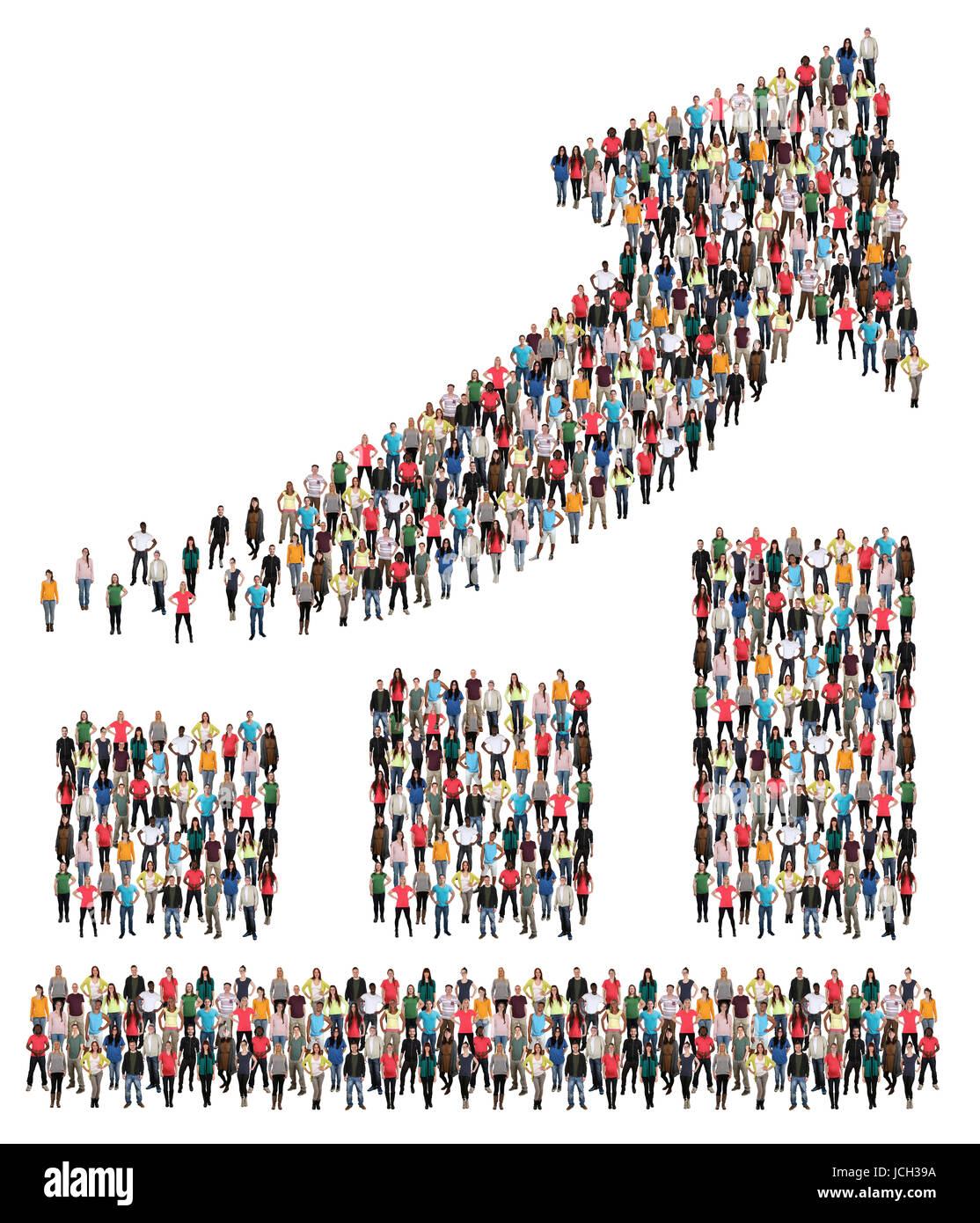 Chart marketing group of people success business improve successful growth growing - Stock Image