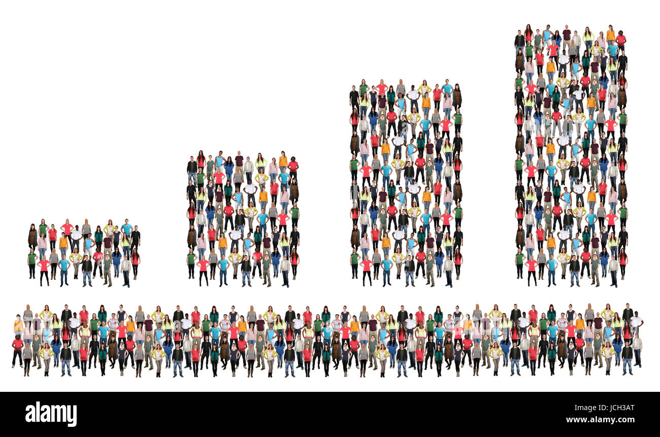 Bar chart group of people success business concept profit growth sales growing - Stock Image