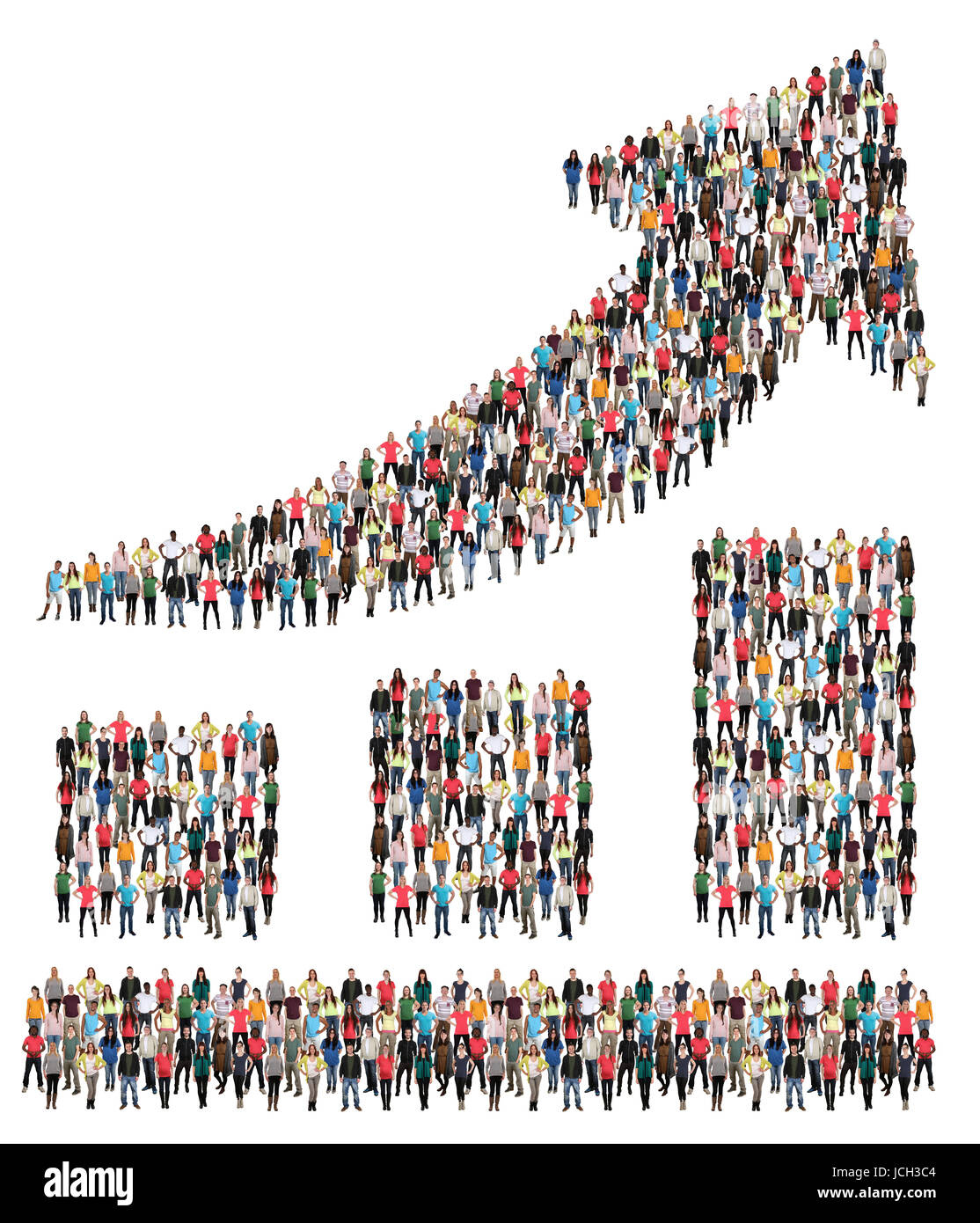 Growth group of people success business chart marketing growing - Stock Image