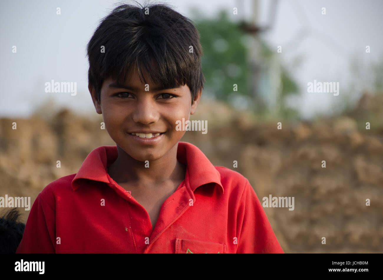 AMRITSAR, PUNJAB, INDIA - 21 APRIL 2017 : portrait of Indian boy smiling - Stock Image