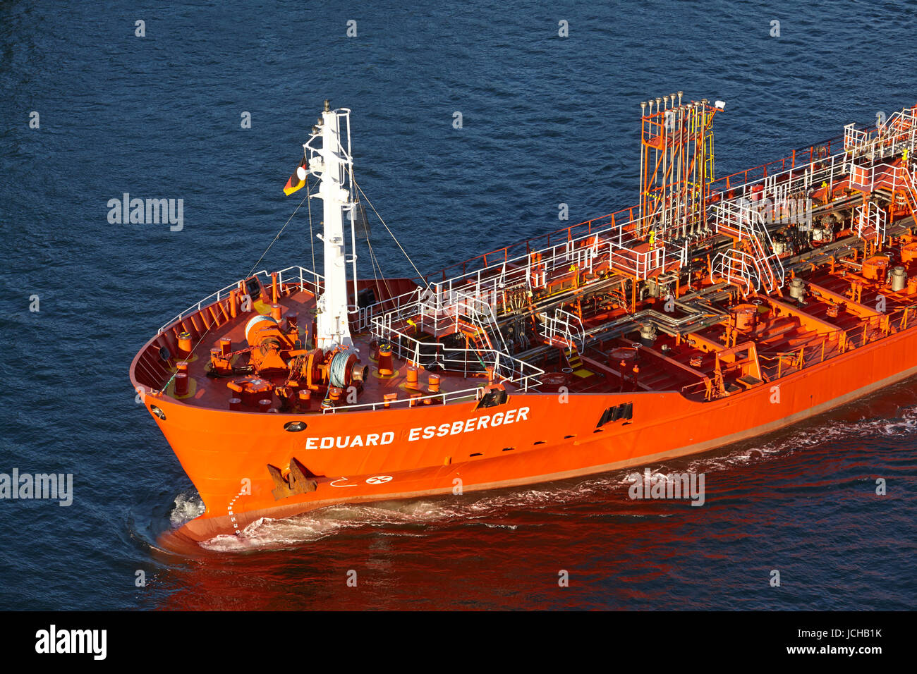 The tanker Eduard Essberger at the Kiel Canal near the lock Kiel-Holtenau taken on September 3, 2014. - Stock Image
