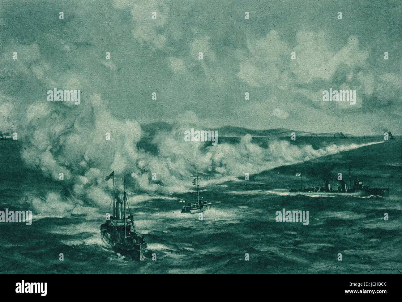 Naval White Smoke screen First World War - Stock Image