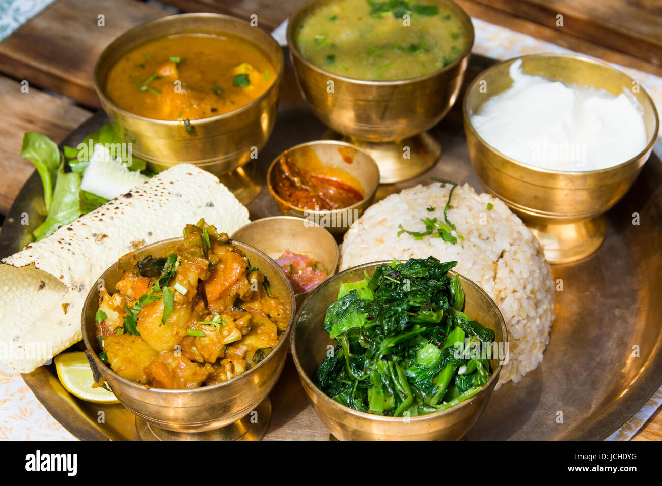 Nepali Thali, traditional meal, Cafe Swotha, Patan (Lalitpur), Kathmandu, Nepal - Stock Image