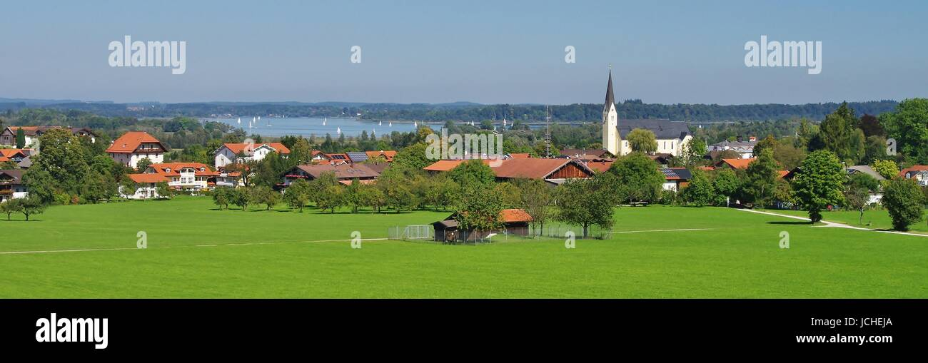 view of bernau and the chiemsee Stock Photo