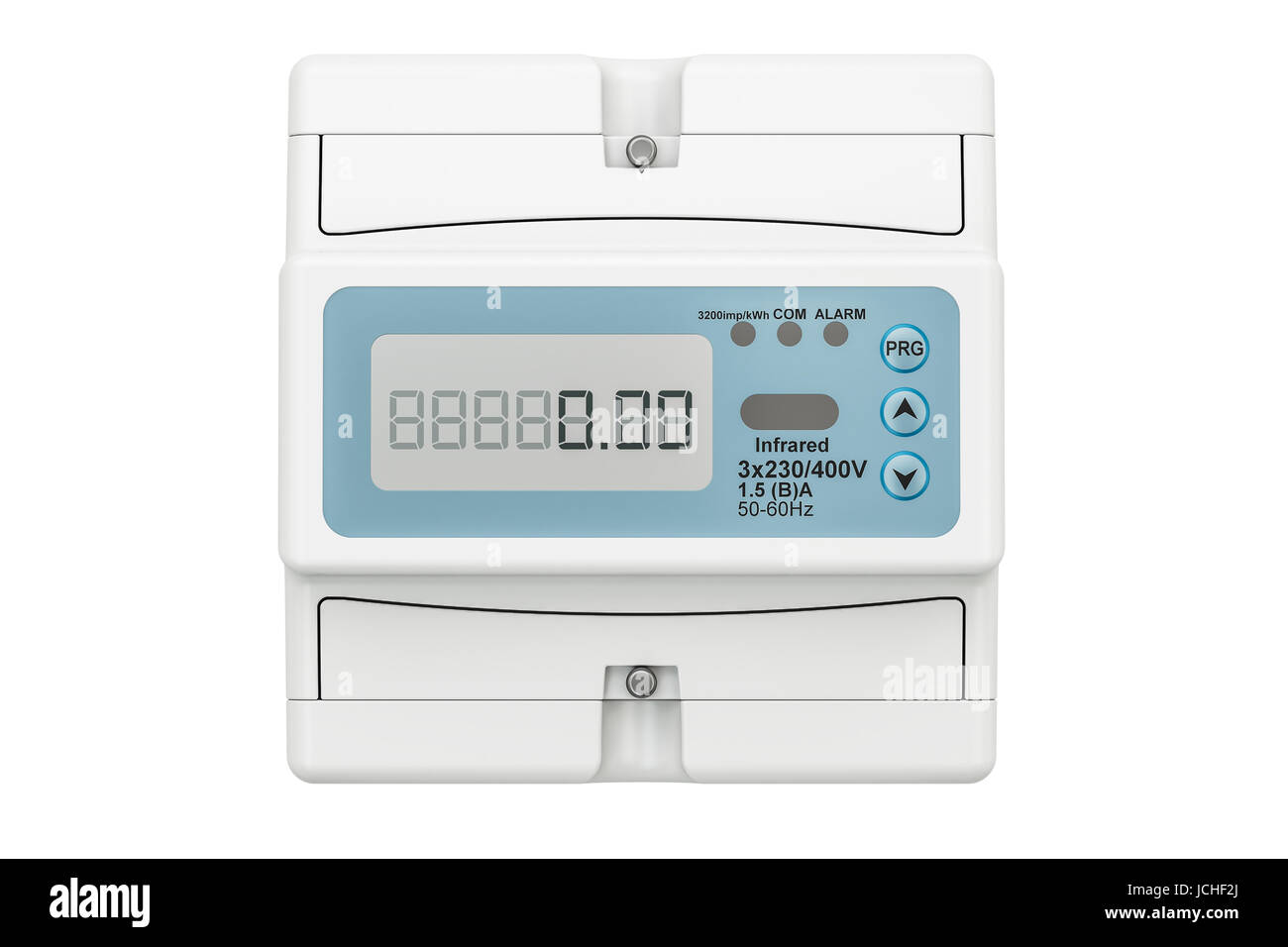 Modern electric meter, 3D rendering isolated on white background - Stock Image