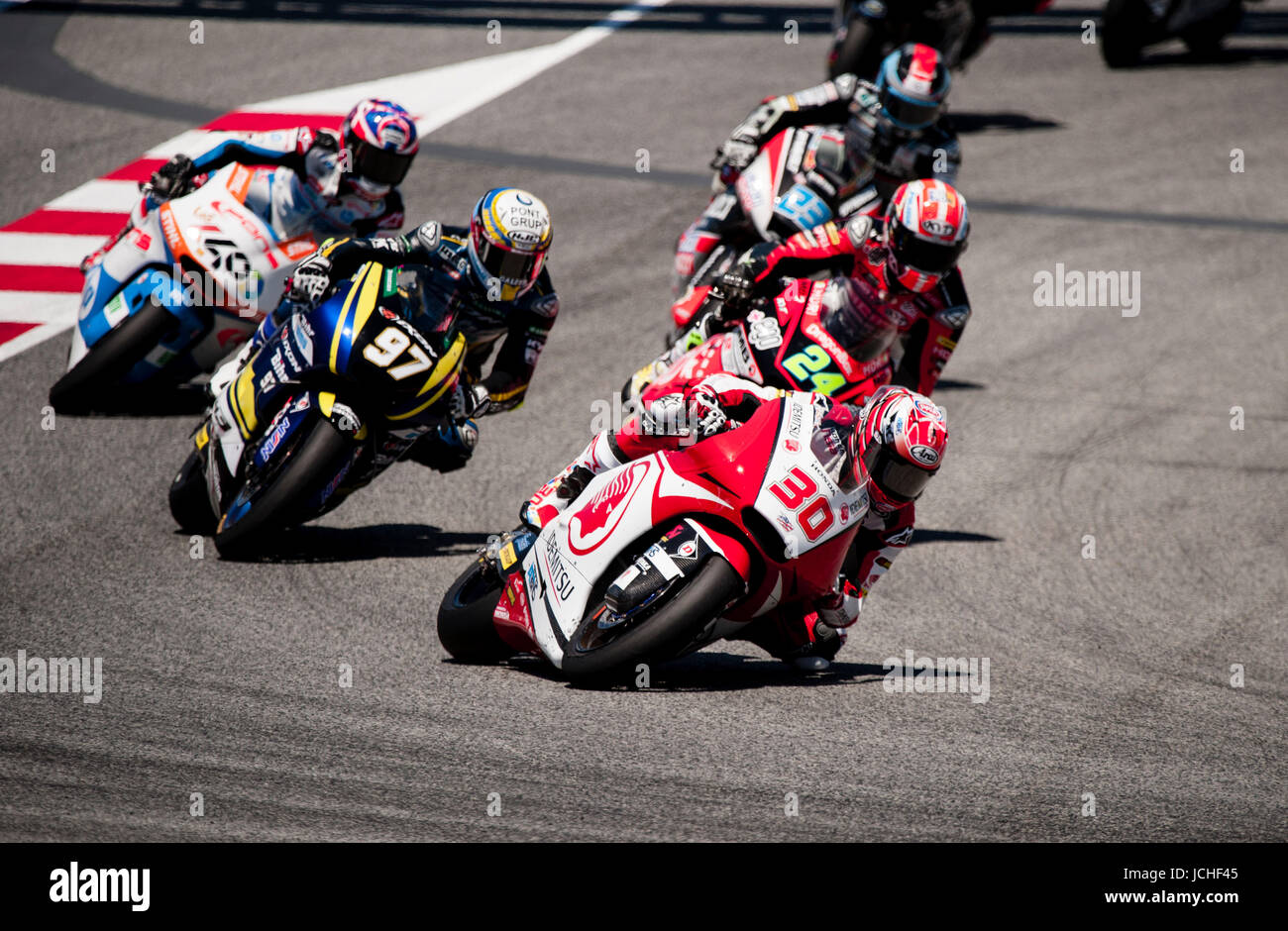 Takaaki Nakagami; of IDEMITSU Honda Asia Moto2 Team leads during Motogp, Gran Premi Monster Energy de Catalunya - Stock Image