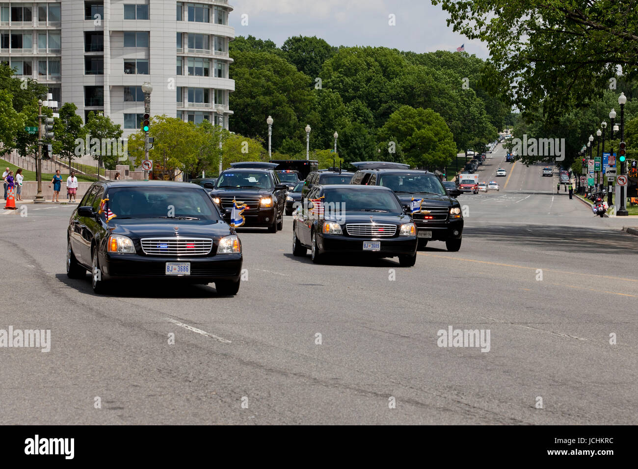 May 24, 2011, Washington, DC USA: Israeli Prime Minister Benjamin Netanyahu motorcade leaving US Capitol, after - Stock Image