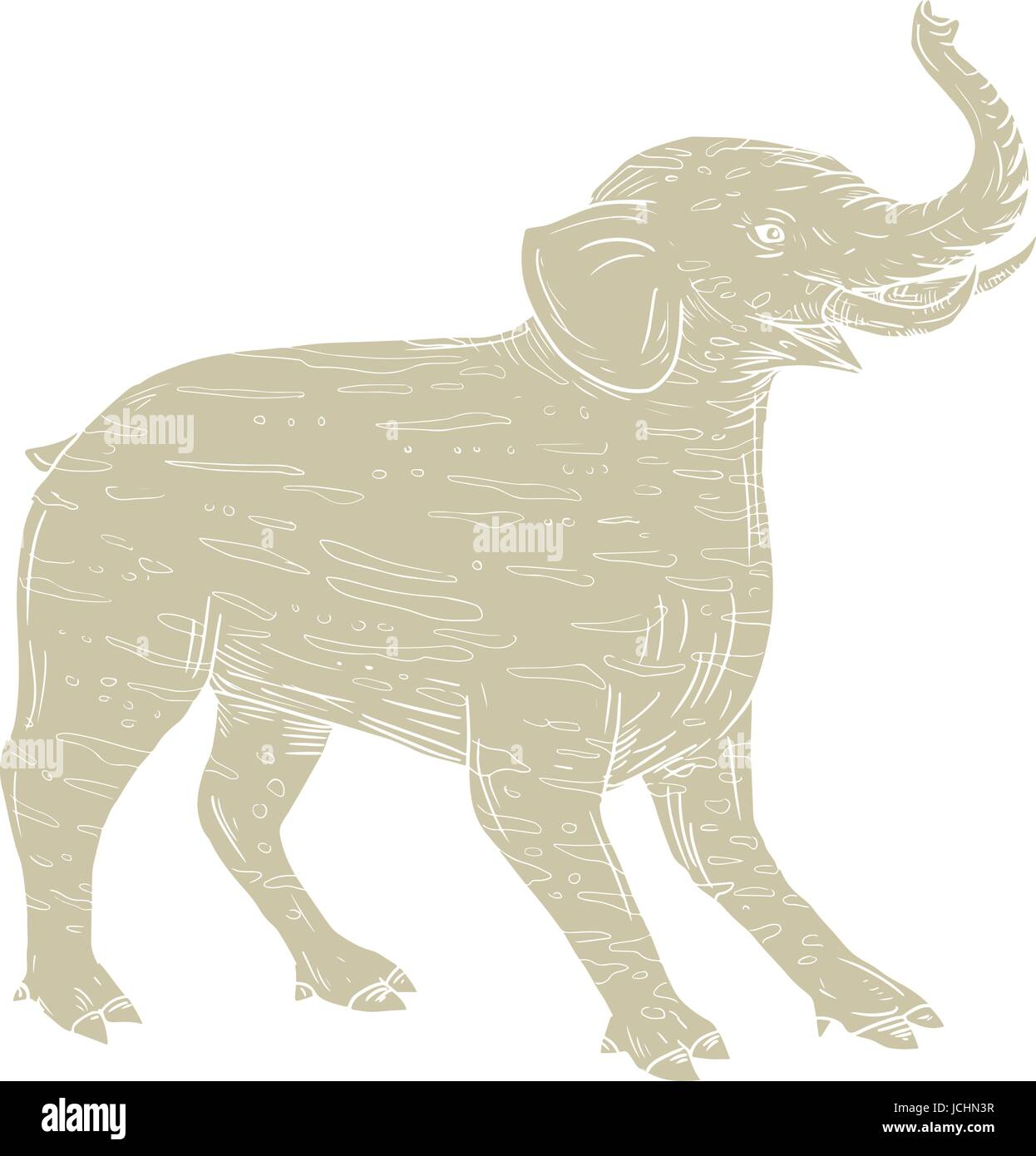 Drawing sketch style illustration of a Baku, a Chinese and Japanese Folklore tapir-like creature with elephantine - Stock Vector