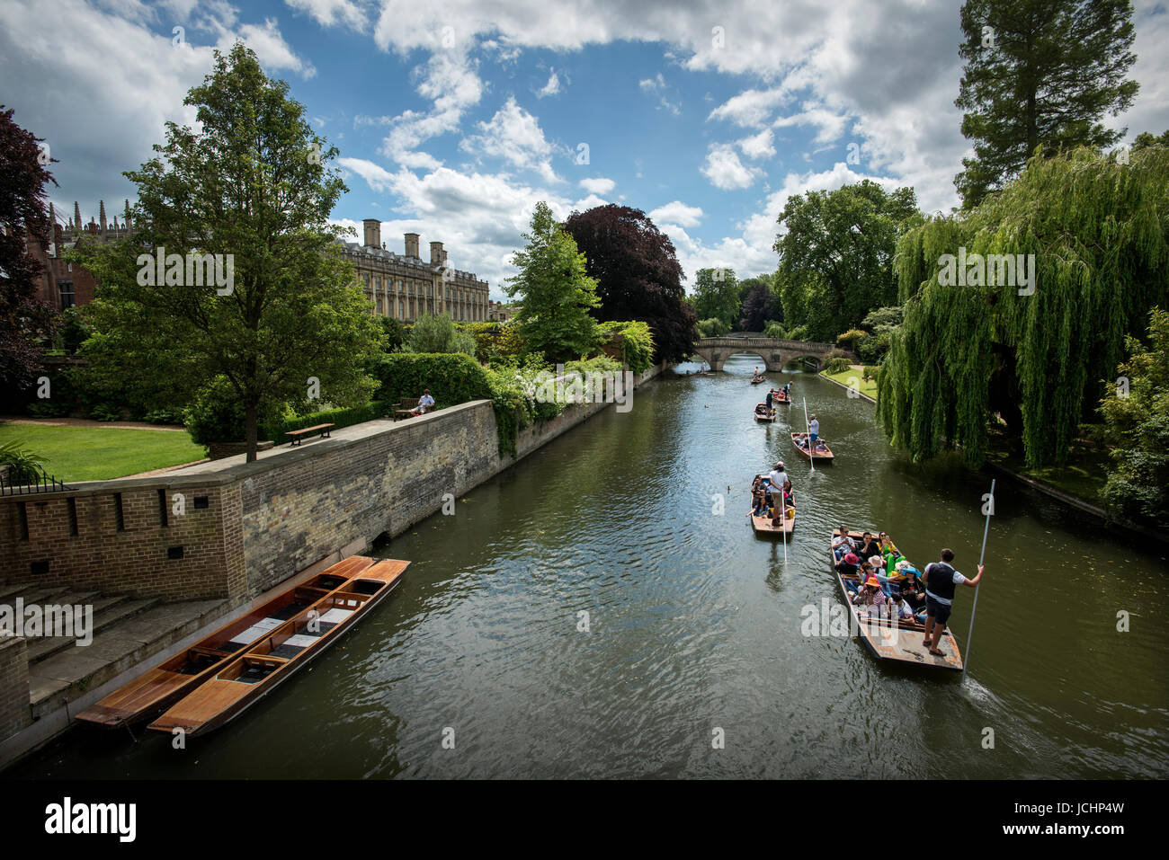Cambridge, Cambridgeshire, England UK. Punting on the River Cam showing Clare College Bridge in Cambridge. June - Stock Image
