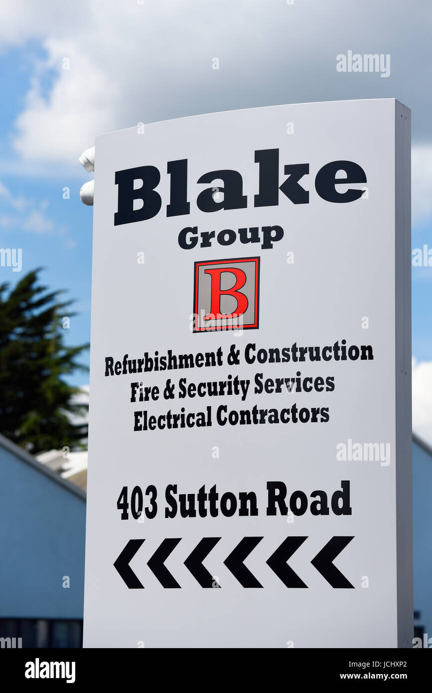 Blake Group fire and security services in Sutton Road, Southend on Sea, Essex. Sign board. Space for copy Stock Photo