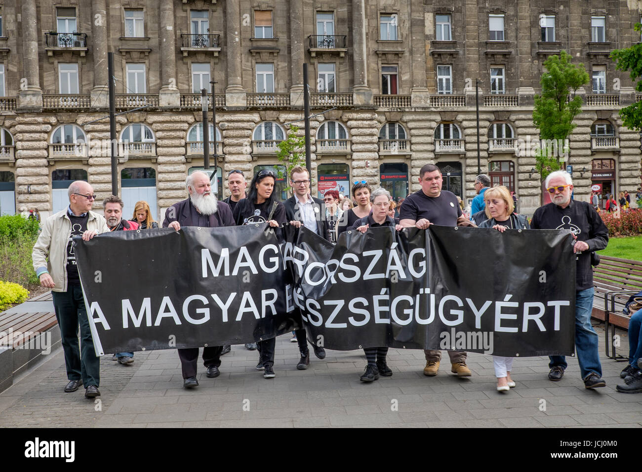 BUDAPEST, HUNGARY - AVRIL 15, 2016: Demonstration against the Hungarian government's health policy at Kossuth - Stock Image