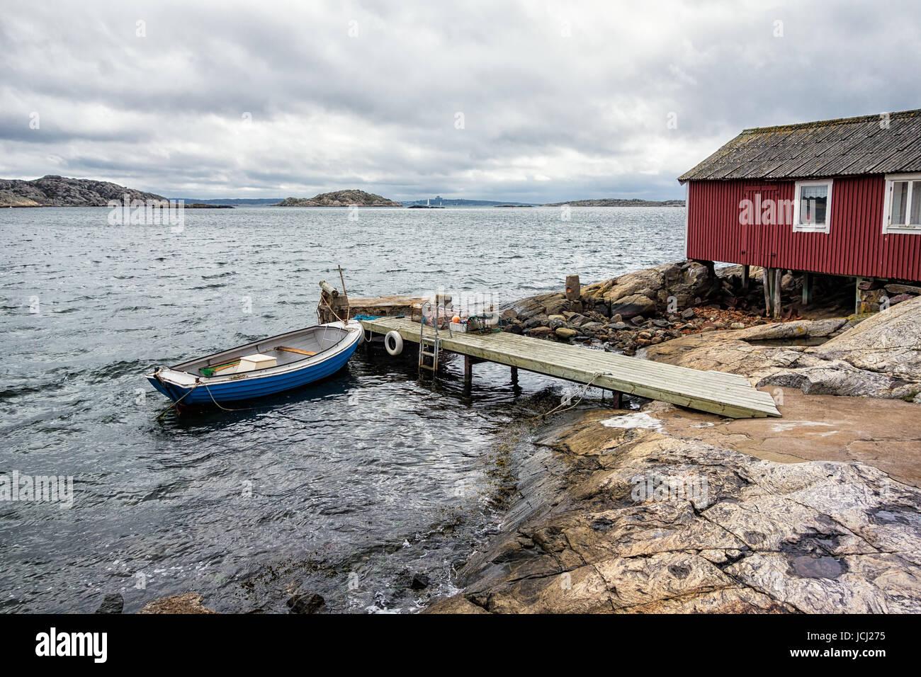 Bootsanlegestelle auf der Insel Orust in Schweden. Stock Photo