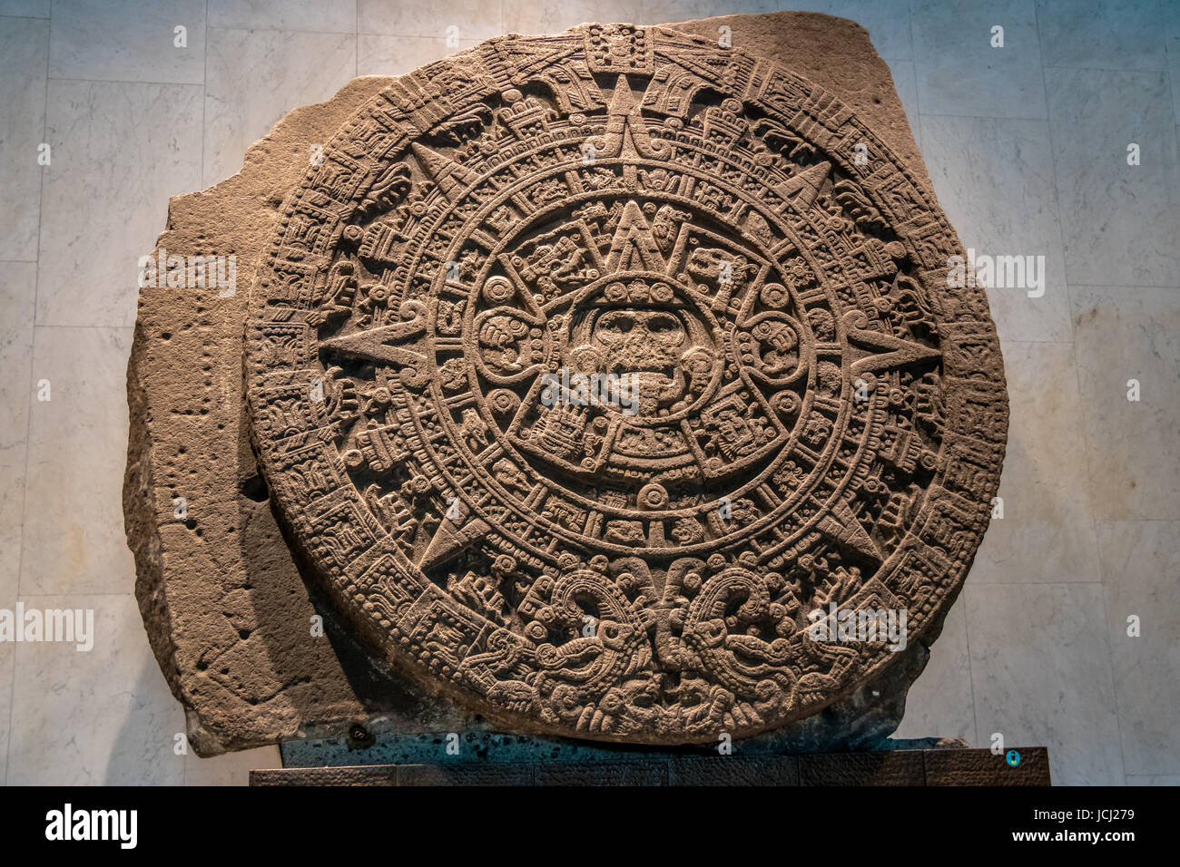 The Aztec Sunstone at The National Museum of Anthropology (Museo Nacional de Antropologia, MNA) - Mexico City, Mexico - Stock Image