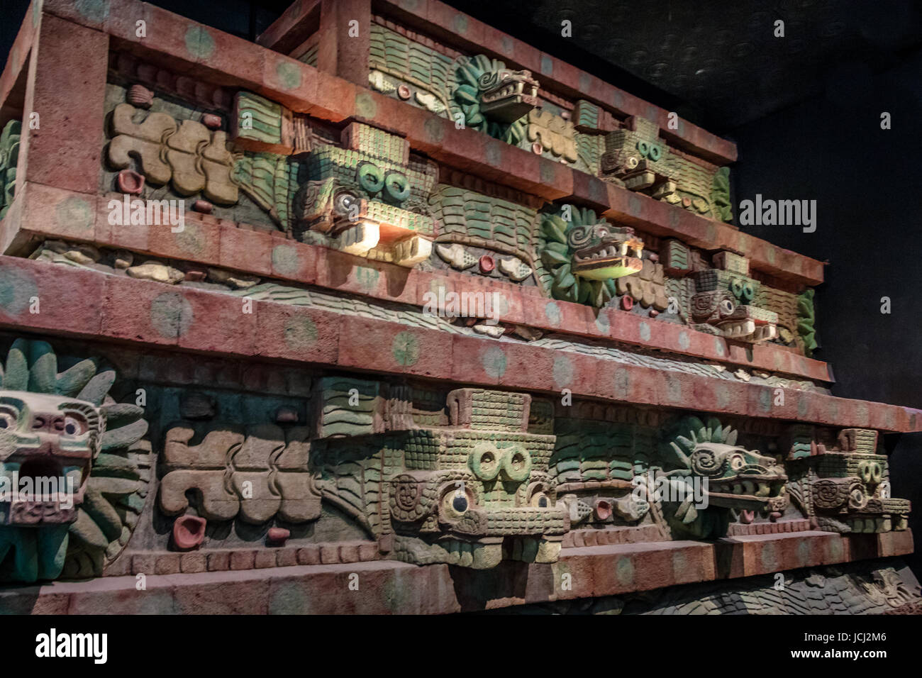Replica of Teotihuacan Temple at National Museum of Anthropology (Museo Nacional de Antropologia, MNA) - Mexico - Stock Image