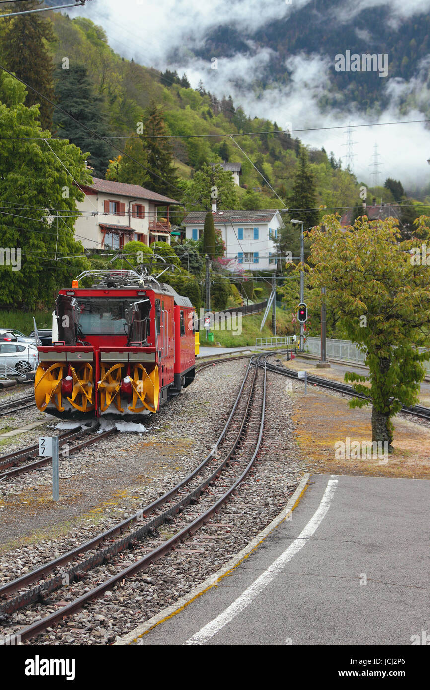 Gear railroad and snowplow of railway tracks. Glion, Montreux, Switzerland - Stock Image