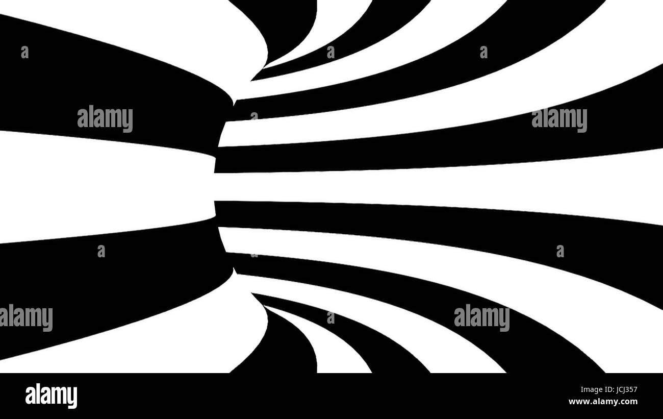 Black and white hypnotic tunnel. 3d rendered. - Stock Image
