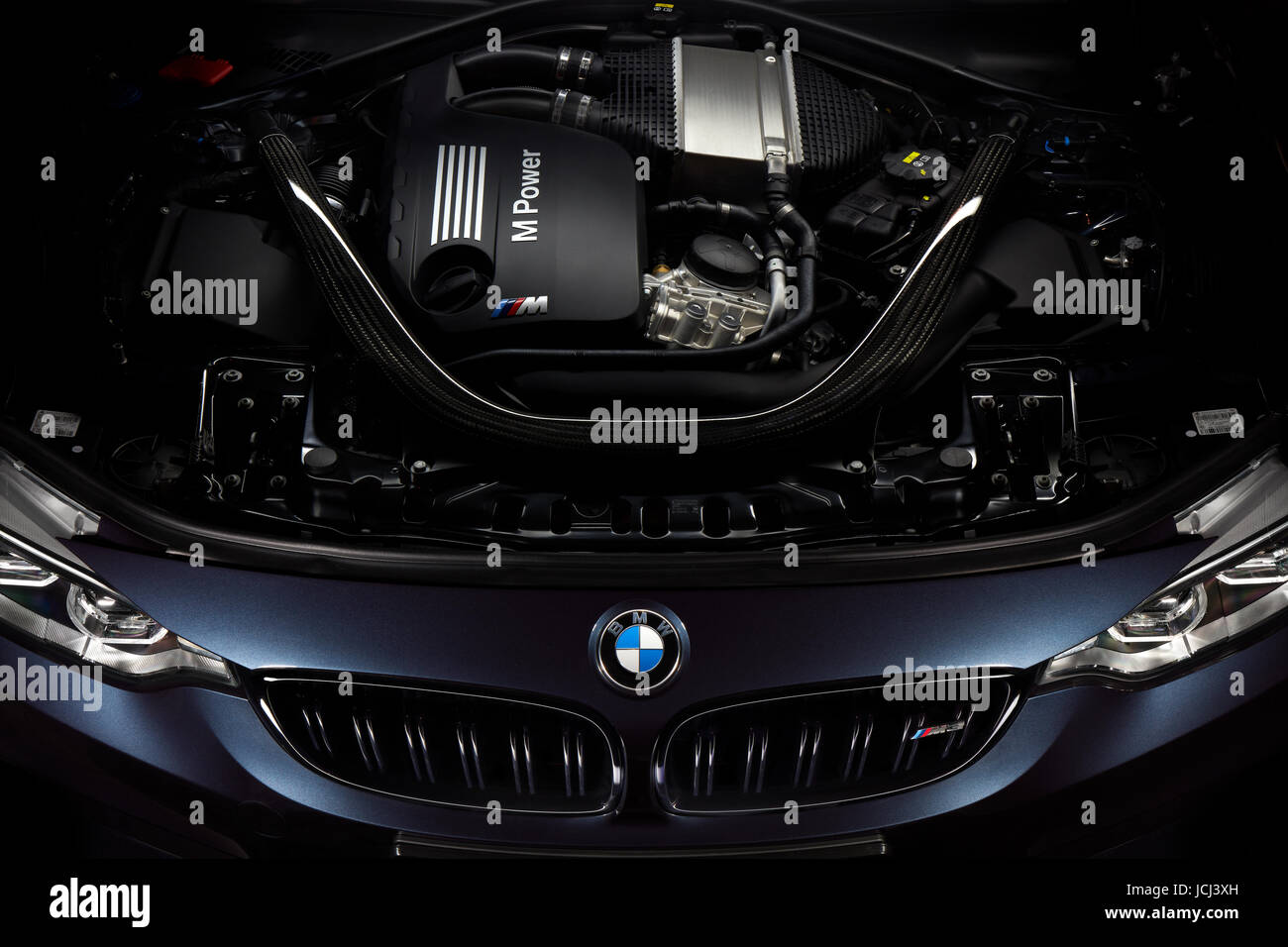 Engine of BMW M3 30 Jahre Edition - Limited edition 500 car, Katowice, Poland, 03.12.2016 Stock Photo