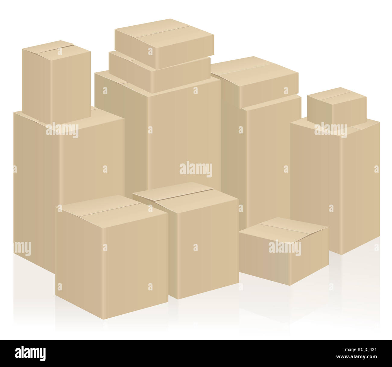 Moving boxes, symbolic for WE ARE MOVING or WE HAVE MOVED - packing case illustration on white background. Stock Photo