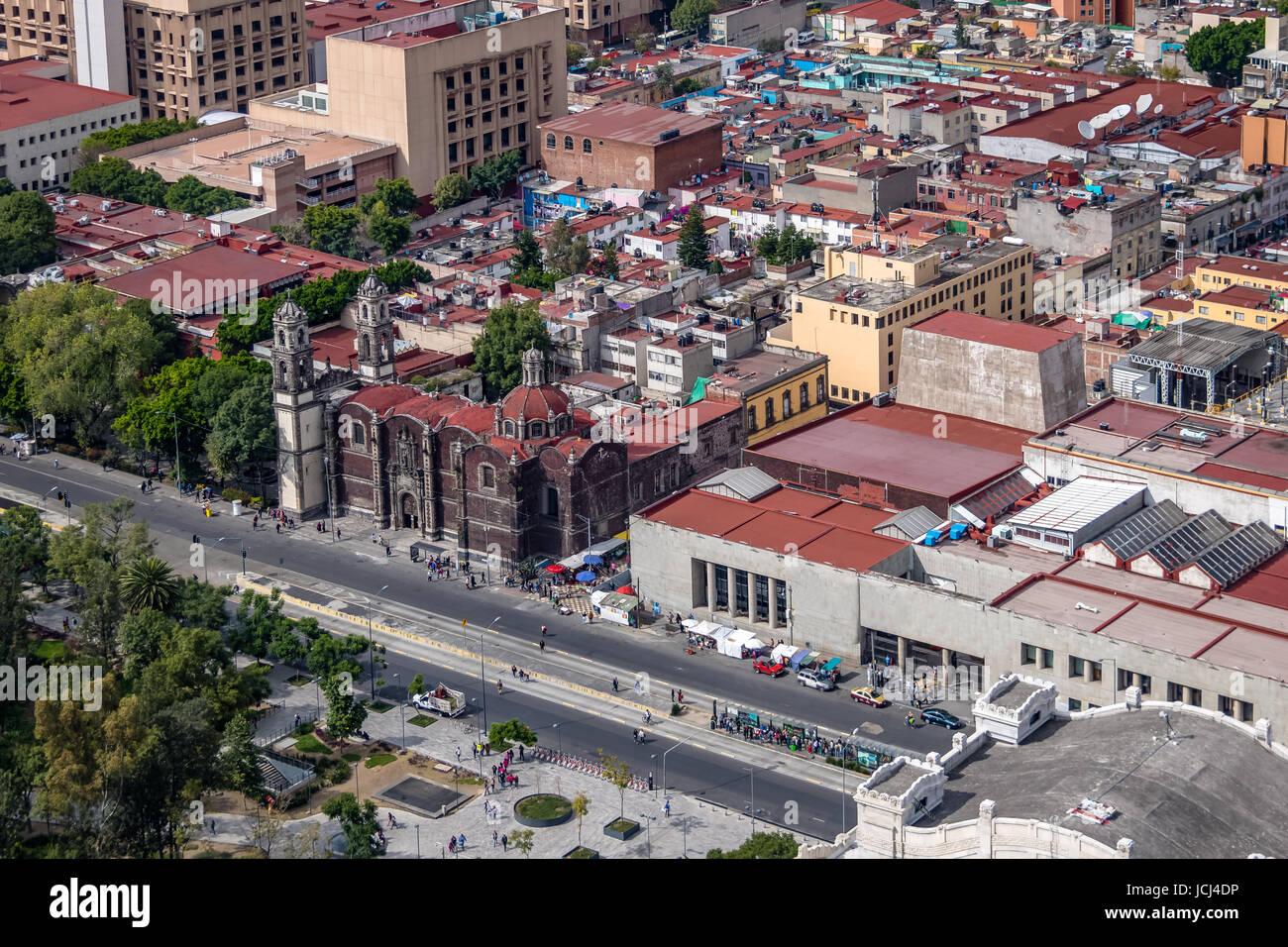 Aerial view of Mexico City and Parroquia de la Santa Veracruz (Santa Veracruz Church) - Mexico City, Mexico - Stock Image