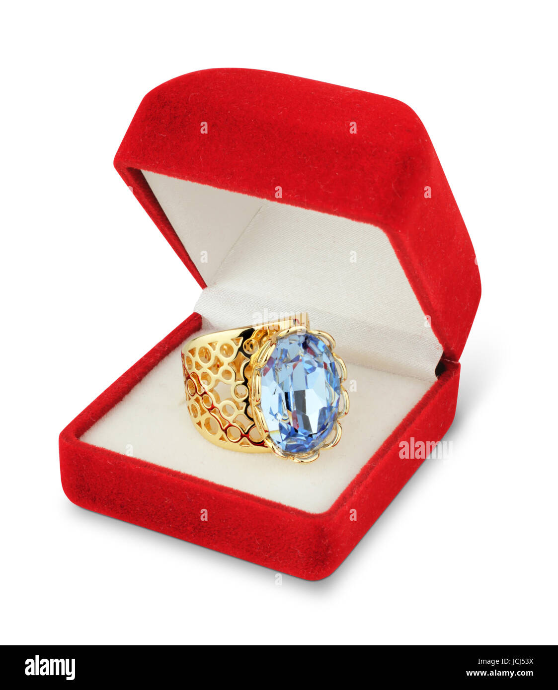 jewellry box with ring isolated on white - Stock Image