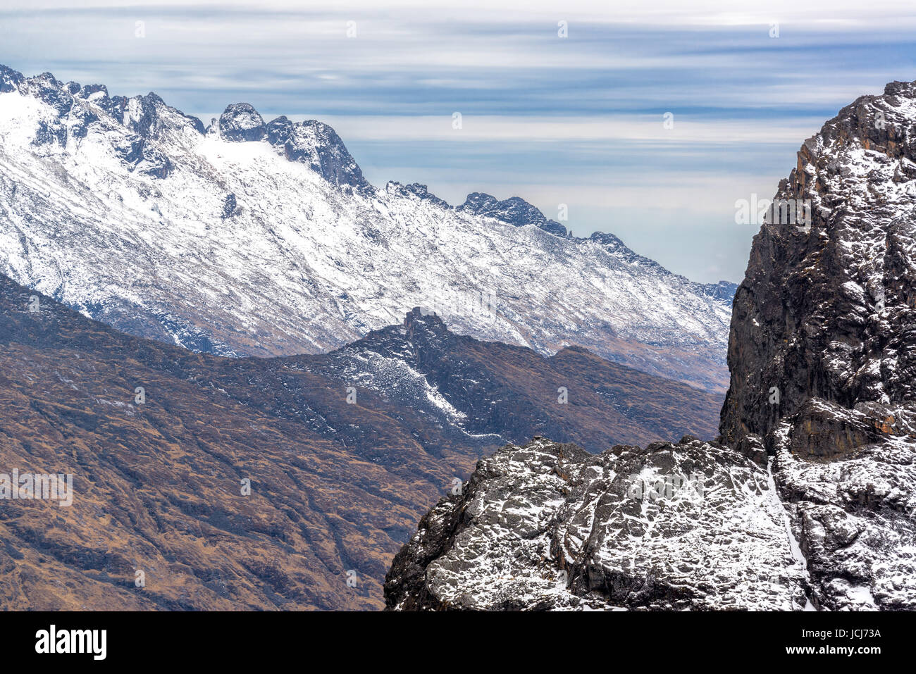 View of the Andes mountains in the Cordillera Real near La Paz, Bolivia - Stock Image