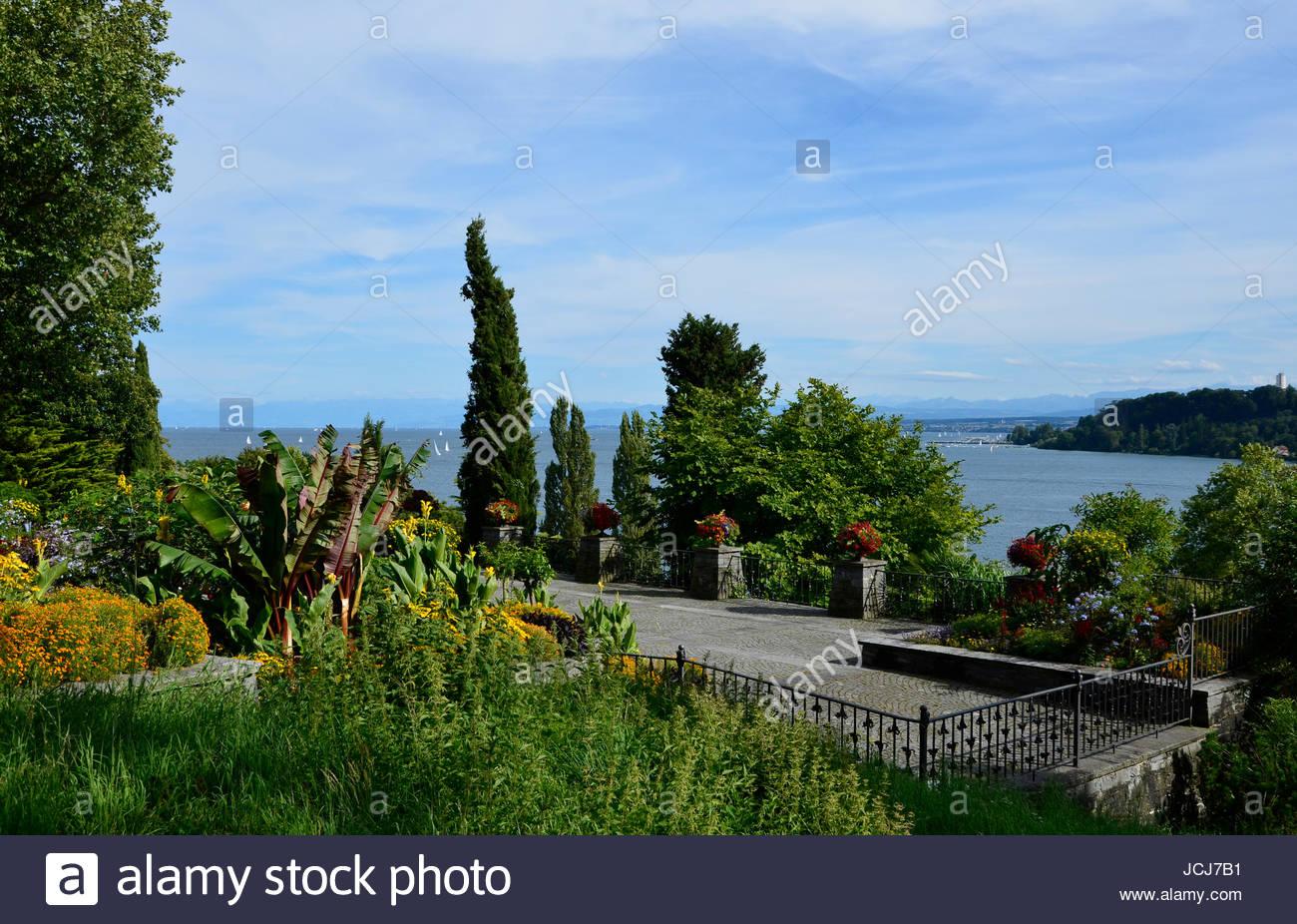 Aussichtspunkt, Insel Mainau im Bodensee - Stock Image