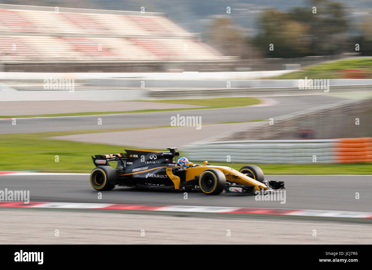 Jolyon Palmer, driver of the Renault Sport F1 Team, in action during the 2nd day of the Formula 1 Test at the Circuit - Stock Image