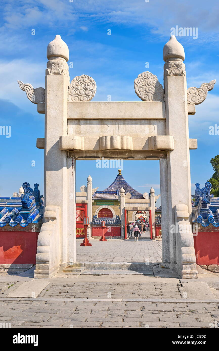 Entrance to Temple of Heaven (Tian Tan), UNESCO, Beijing, China - Stock Image