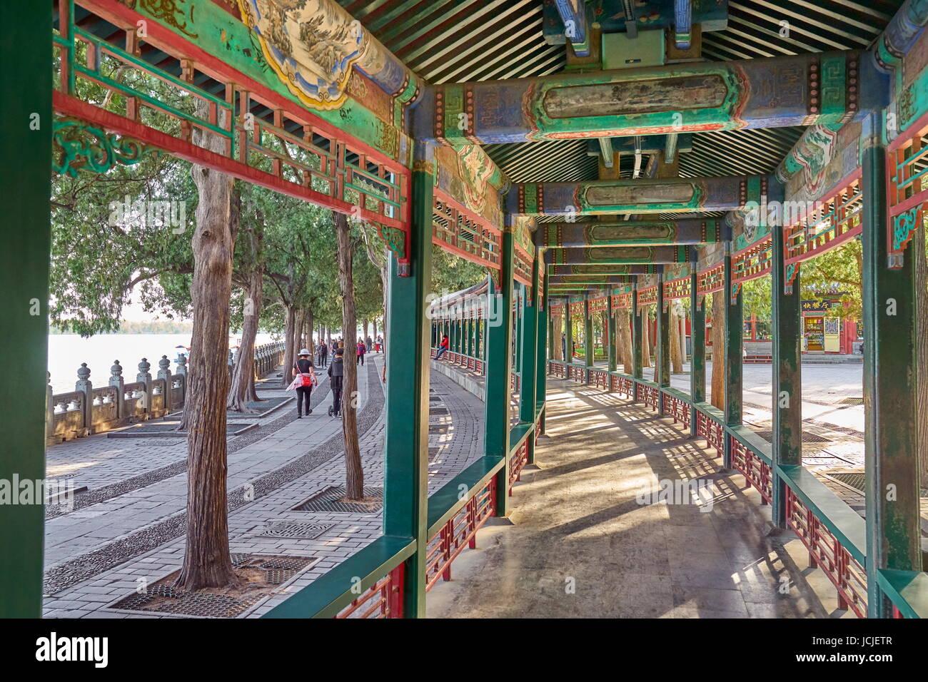 The Long Corridor, Summer Palace, Beijing, China - Stock Image