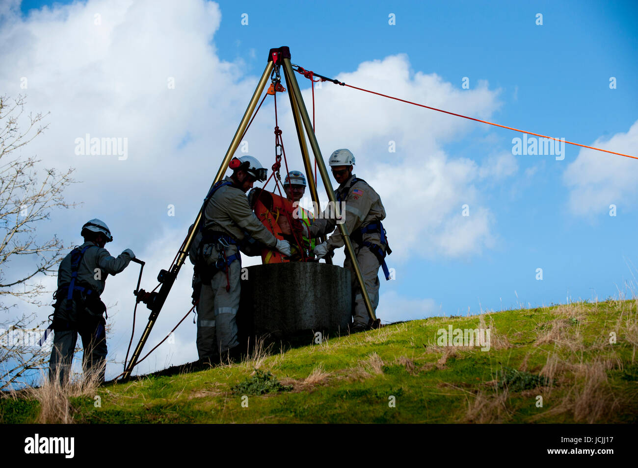 Crews practice trench, pipe, tunnel and confined space rescue at an industrial site. - Stock Image