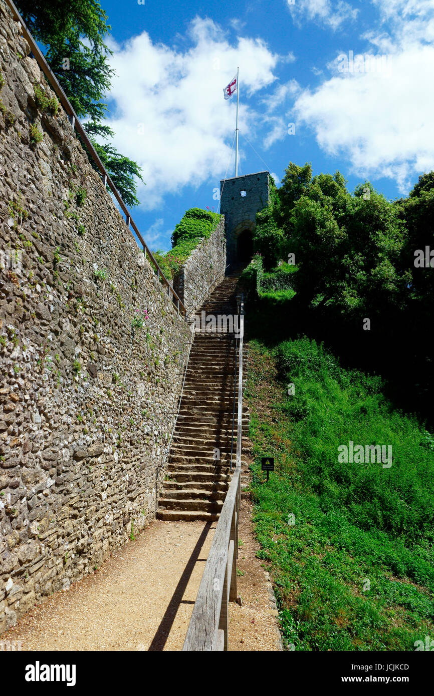 STEPS LEADING TO WALL AND SHELL KEEP - Stock Image
