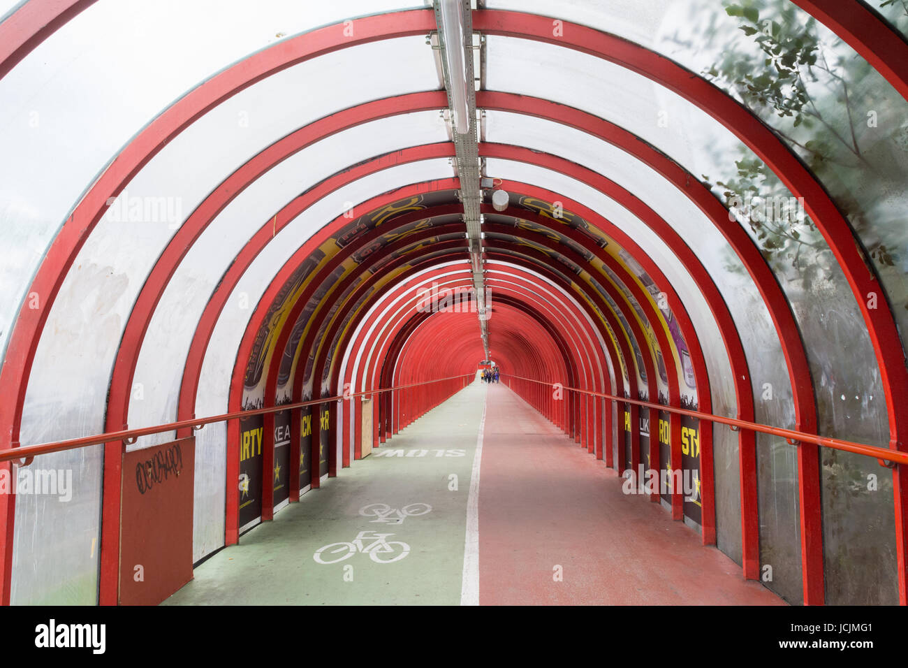 Glasgow SECC elevated covered pedestrian walkway and cycle lane, Glasgow, Scotland, UK Stock Photo
