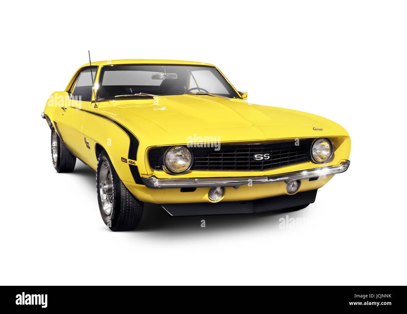 Yellow 1969 Chevrolet Camaro Ss Classic Retro Sports Car Muscle Car