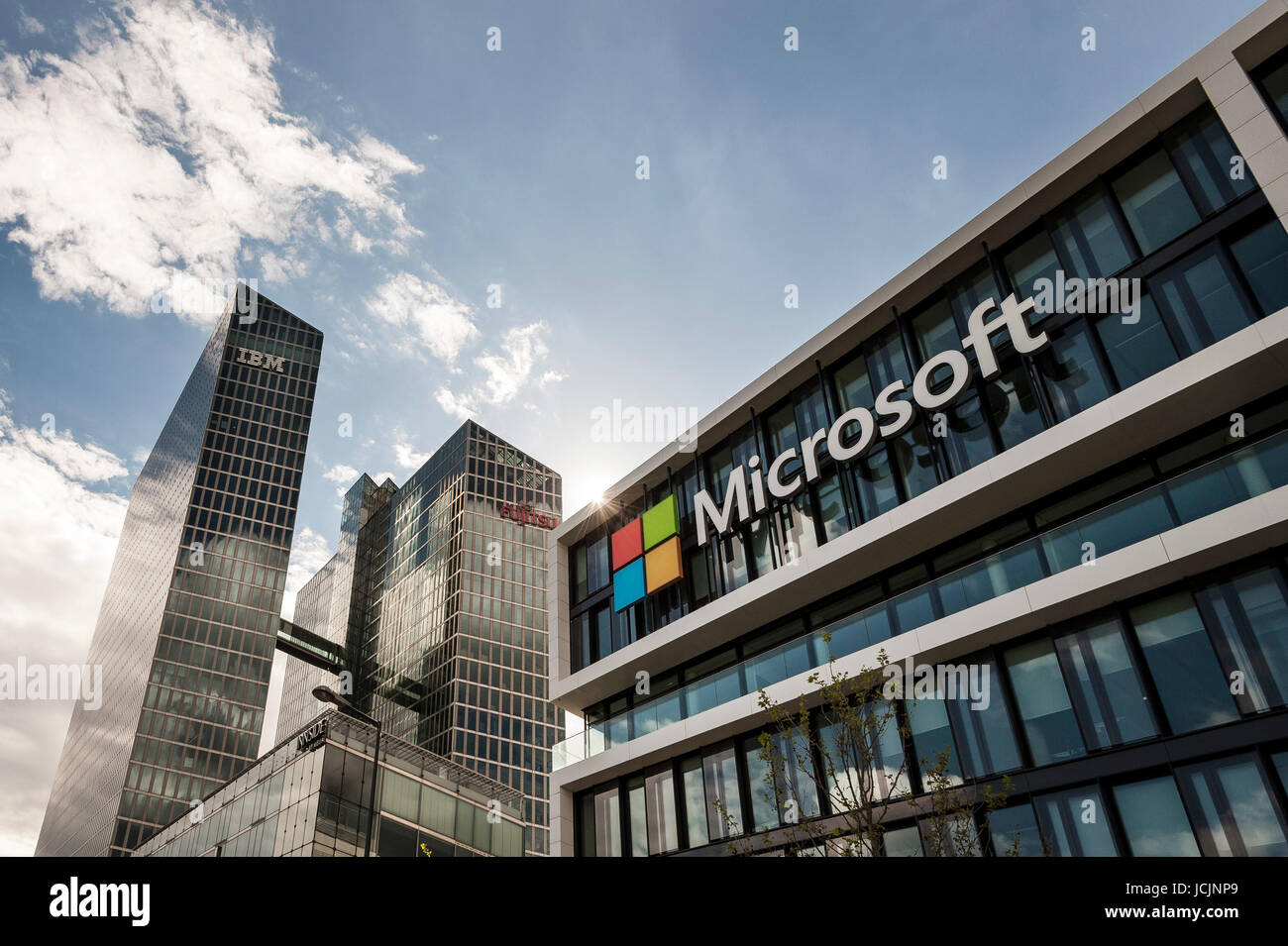microsoft germany corporate head office at back highlight towers with ibm and fujitsu headquarters schwabing munich bavaria