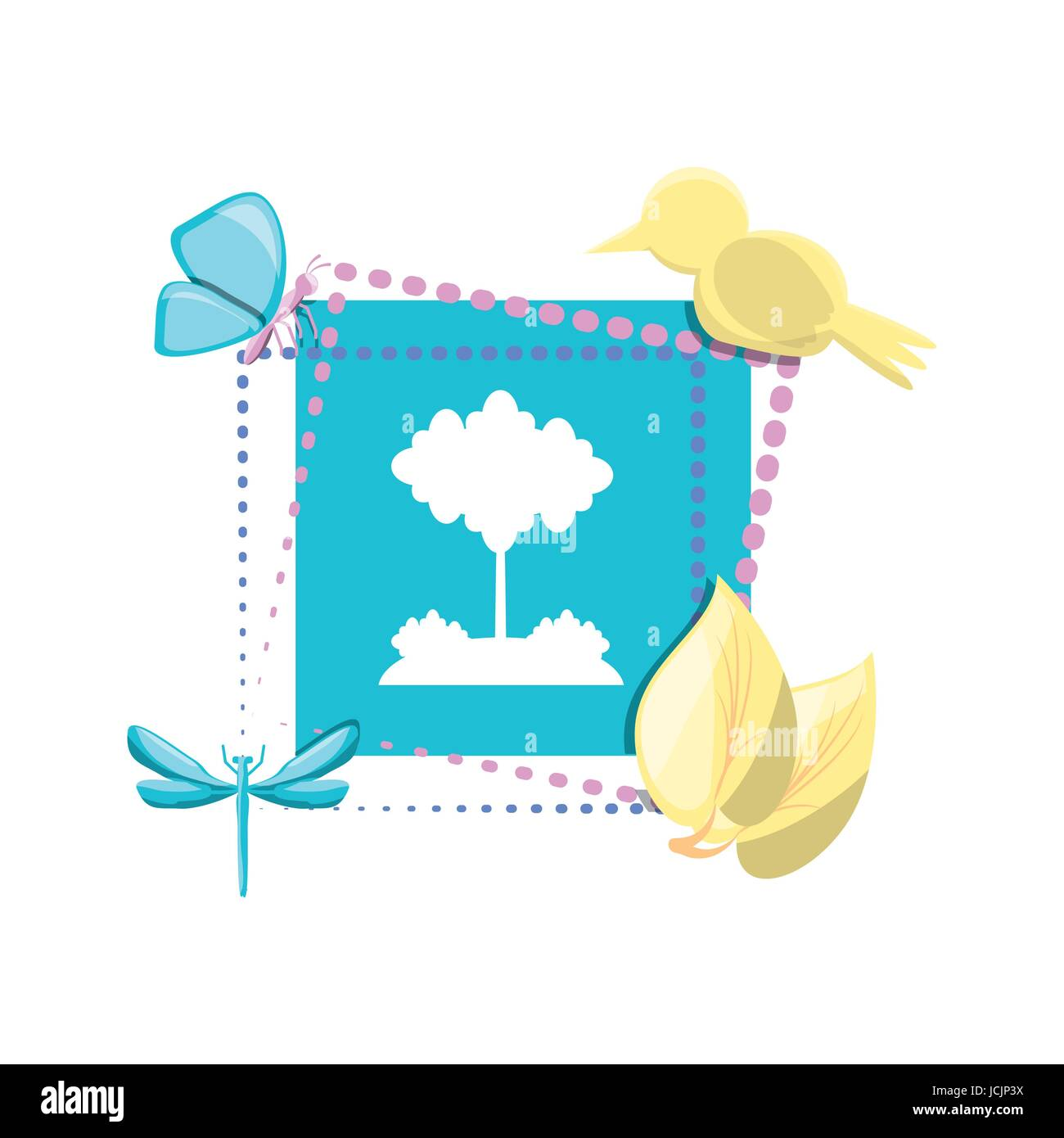 emblem of tree with leaves and animals - Stock Image