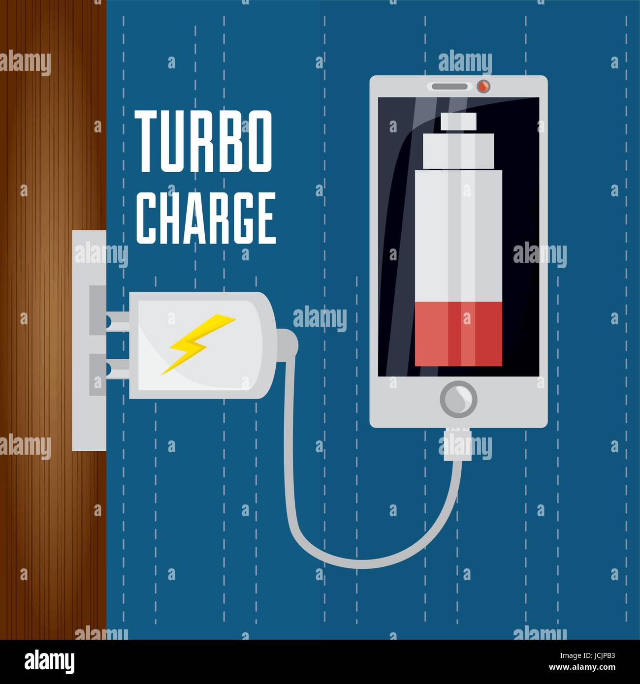 cellphone with power cable to charge the battery - Stock Vector