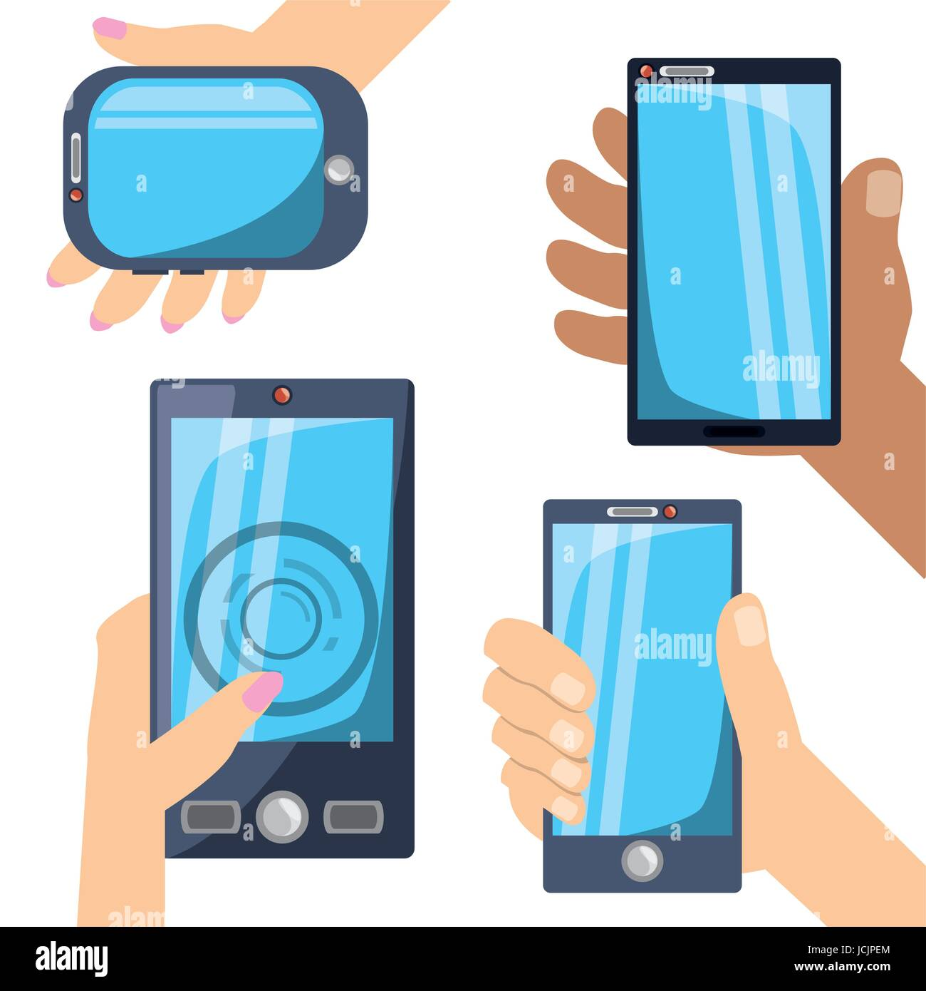 differents smartphones technology in the hands - Stock Image