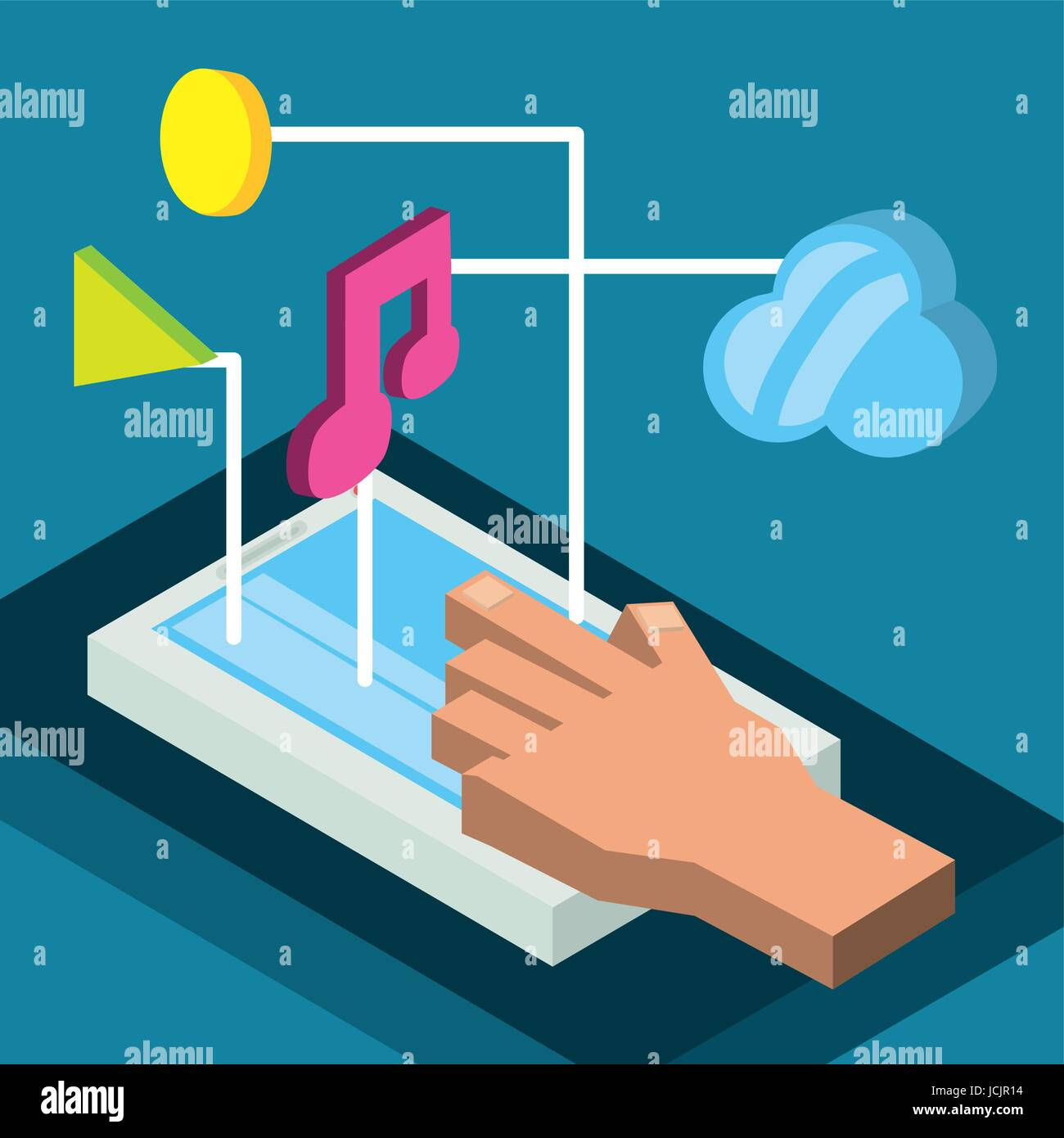 isometric smartphone with apps options - Stock Image