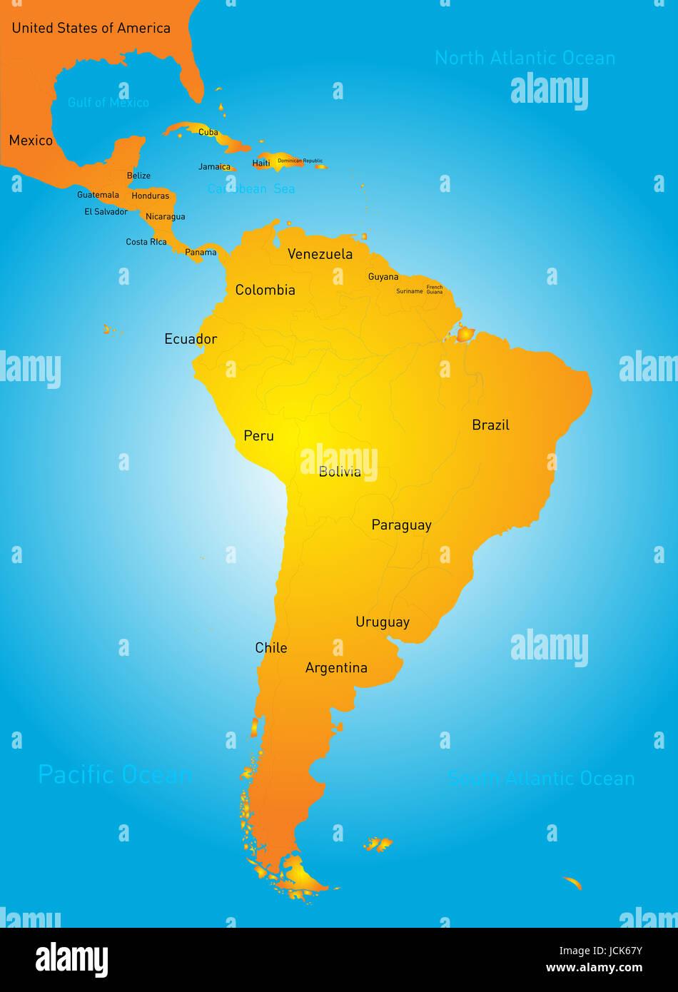 Latin American Countries Map Stock Photos & Latin American Countries ...