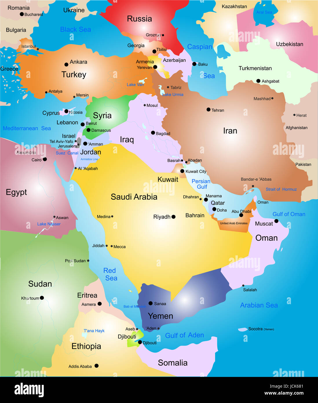 Middle-east vector color map Stock Photo: 145480833 - Alamy