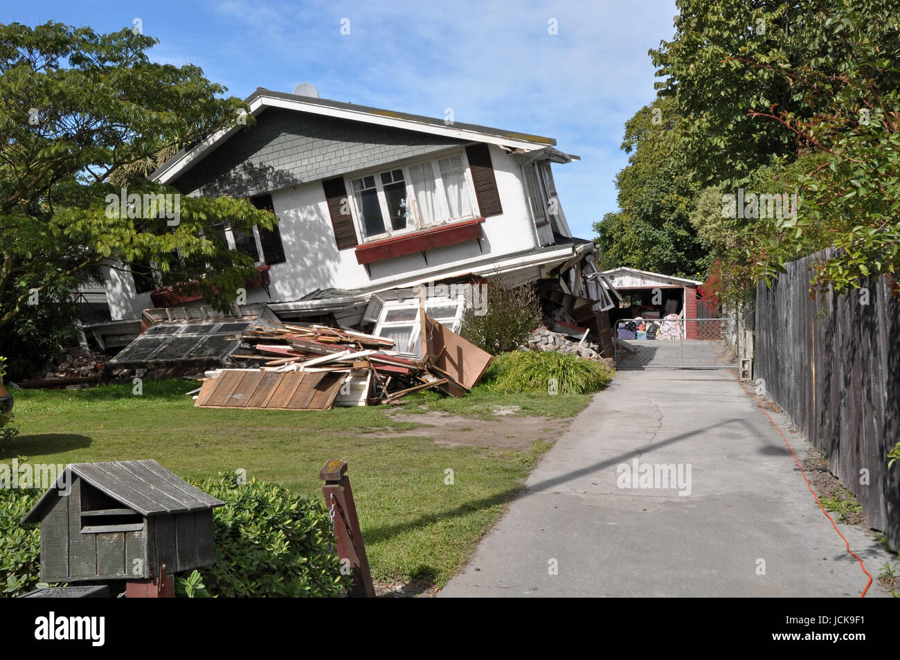Christchurch, New Zealand - March 26, 2011: House in Avonside collapses in the largest earthquake Christchurch has Stock Photo