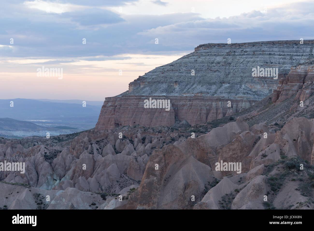 Horiziontal shot of rocky landscape of Cappadocia in Turkey - Stock Image