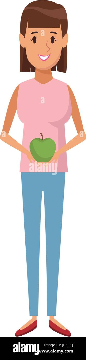 woman holding apple healthy nutrition - Stock Vector