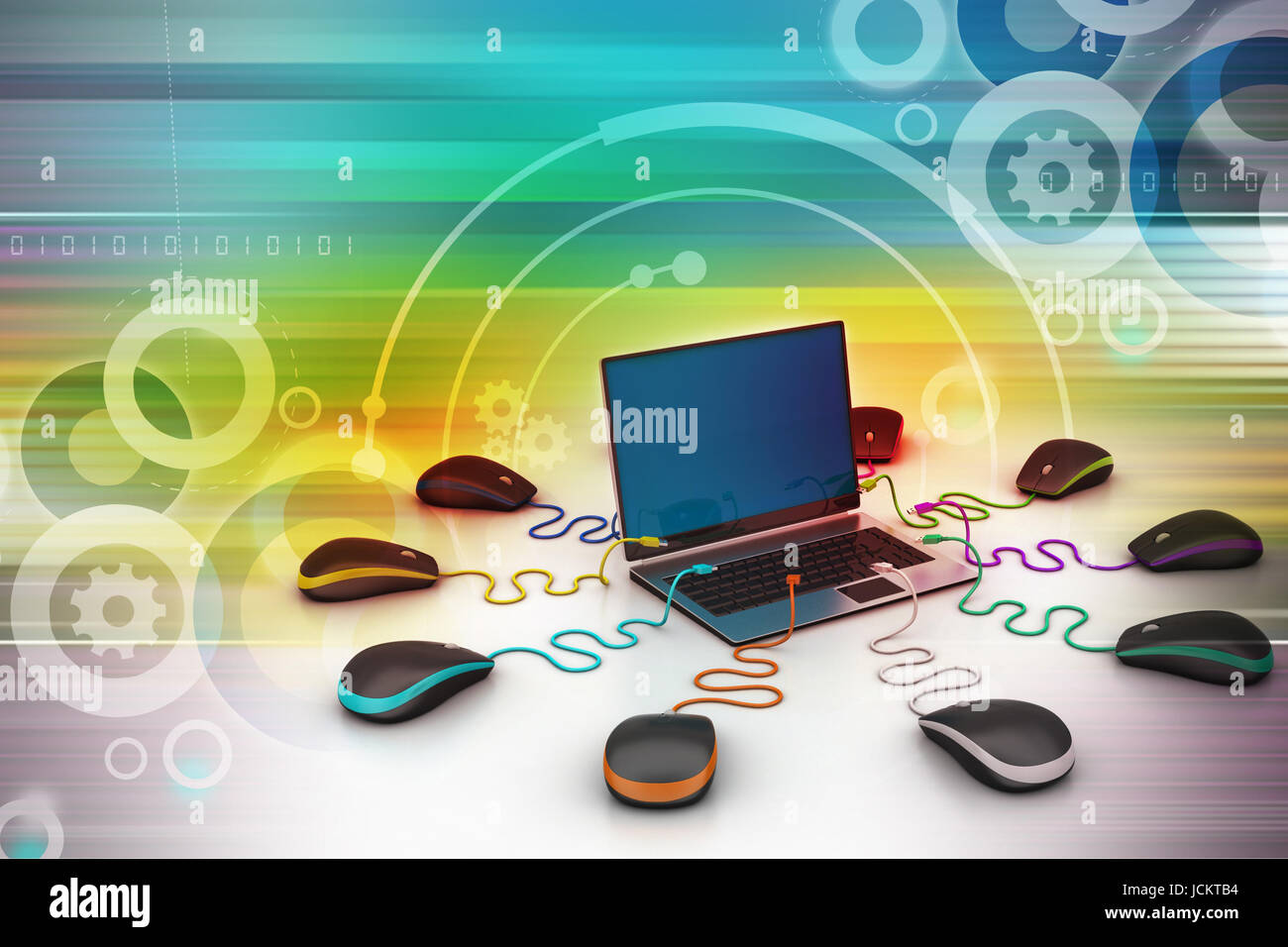 laptop computer around with mouse - Stock Image