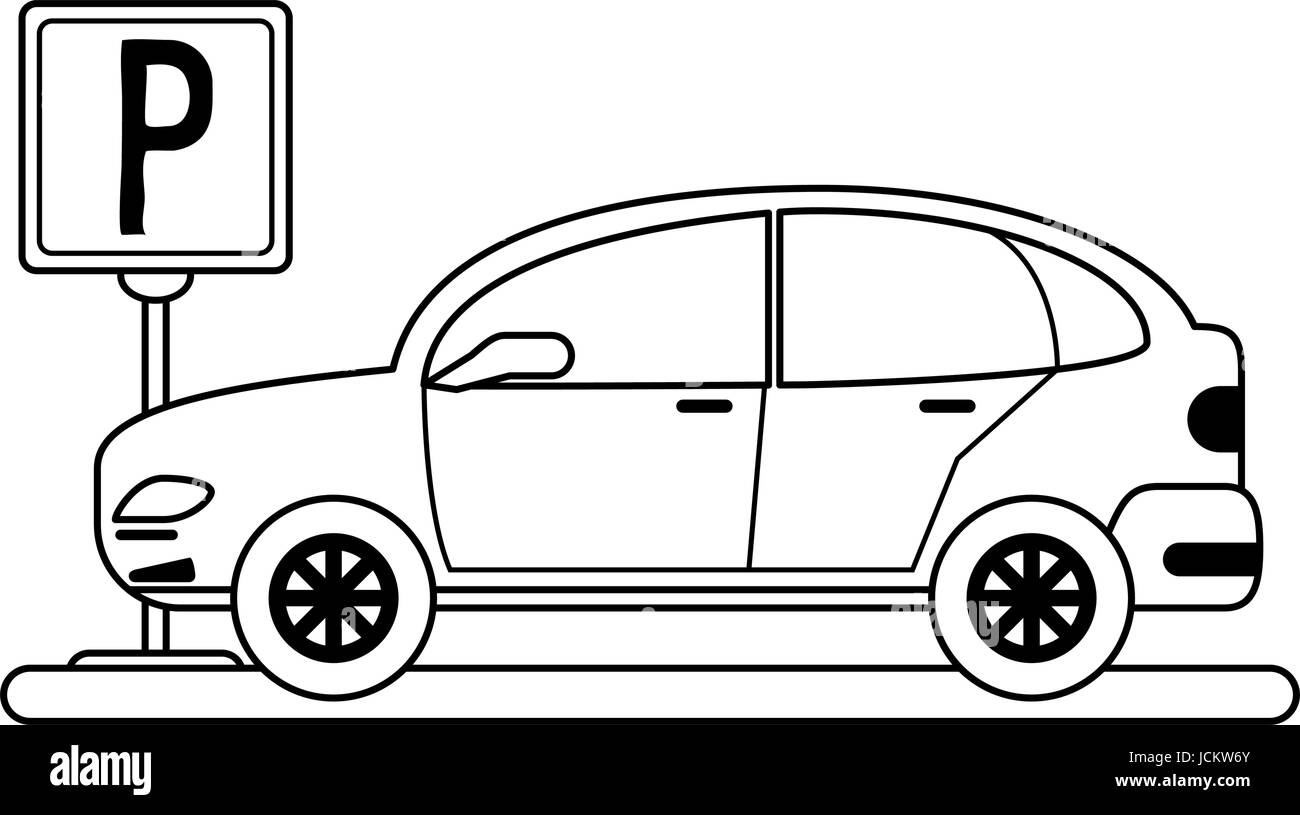parked car sideview icon image  - Stock Image
