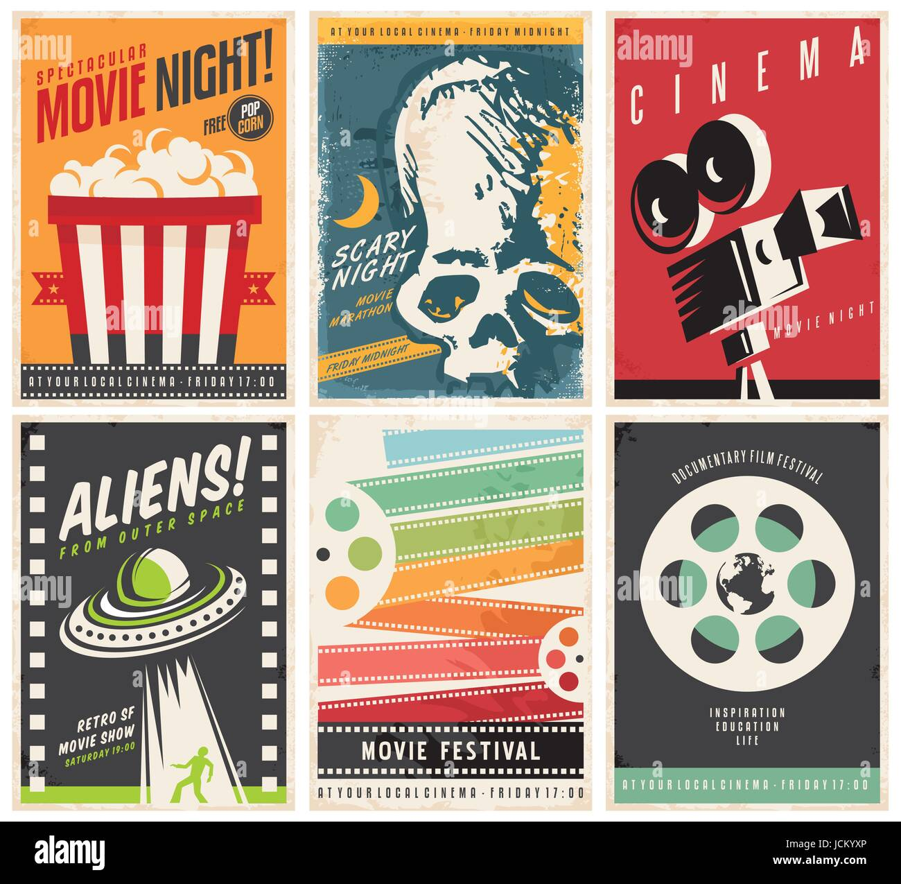 Cinema Posters Collection With Different Movie And Film Genres Themes Creative Retro Vector Design Concept Six Promotional Pamphlets